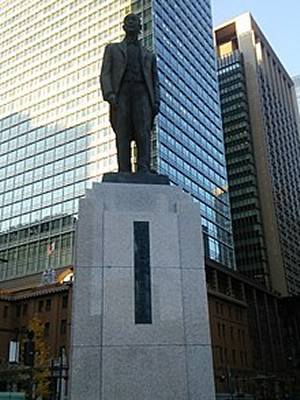 Re-established Statue of Masaru Inoue near Tokyo Station north